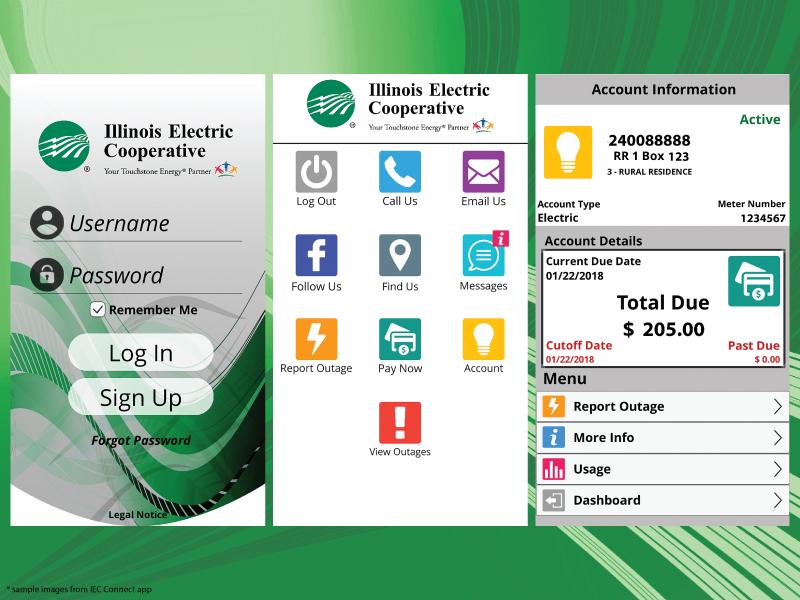 Examples of smartphone app screens